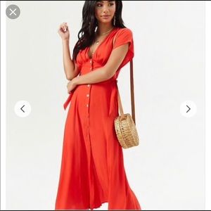 Woven midi dress (red)